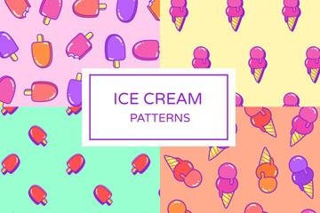 4款彩色雪糕无缝背景矢量素材