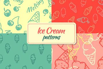 4款手绘夏季雪糕无缝背景矢量图