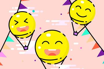 3个彩绘笑脸热气球矢量素材