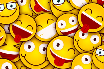 黄色质感笑脸背景矢量素材
