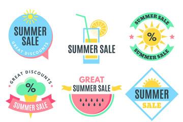 9款清新夏季促销标签矢量素材