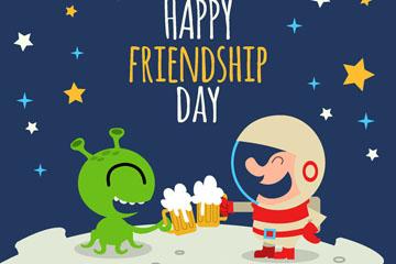 卡通啤酒碰杯的外星人和宇航员矢