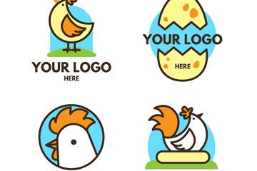 4款可爱鸡元素标志矢量素材
