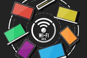 创意无线网络和电子产品圆环矢量图