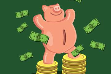卡通站在金币堆上的储蓄罐猪矢量图