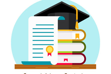 创意毕业证书书本和博士帽矢量素材