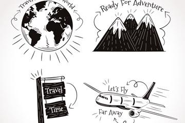 4款手绘旅行语元素矢量素材
