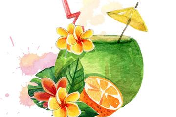 水彩绘椰汁和鸡蛋花矢量素材