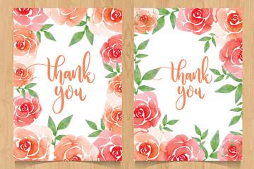 2款水彩绘玫瑰感谢卡片矢量素材