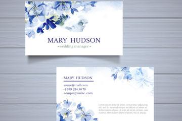 水彩绘蓝色花卉名片正反面矢量图