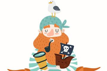 卡通海盗和海鸥设计矢量素材