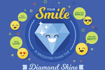 可爱笑脸钻石和表情圆脸矢量素材