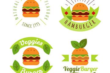 4款绿色素食汉堡包标志矢量素材