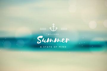水彩绘模糊夏季沙滩风景矢量素材