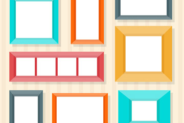 8款彩色扁平化空白相框矢量图