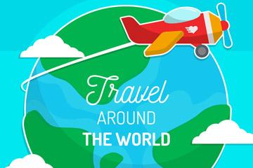 创意地球和飞机贴纸矢量素材
