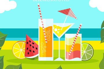 彩色海边鸡尾酒和水果矢量图