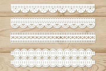5款白色蕾丝花边设计矢量素材