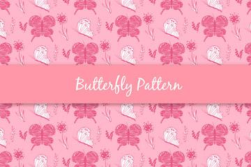 彩绘粉色蝴蝶和花卉无缝背景矢量图