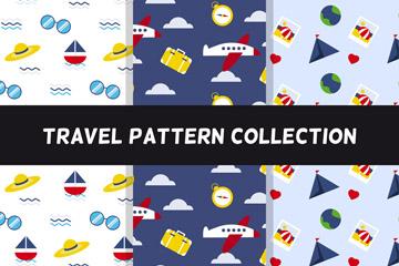 3款彩色旅行物品无缝背景设计矢量素材