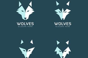 4款抽象狼头像标志矢量素材