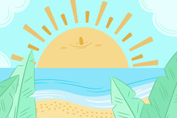 彩绘夏威夷海上日出矢量素材