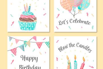 4款彩绘生日元素祝福卡矢量素材