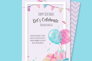彩绘气球和礼盒生日邀请卡矢量素材