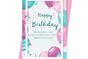 彩绘气球生日祝福卡正反面矢量素材