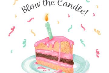 彩绘插着蜡烛的三角蛋糕矢量素材