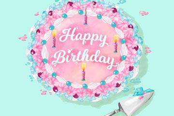 彩色花朵生日蛋糕矢量素材