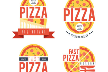 4款创意披萨店标志矢量素材