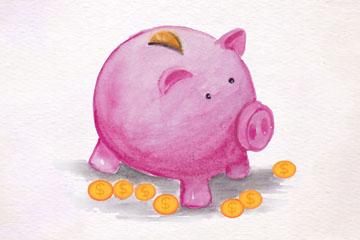 彩绘粉色猪存钱罐和金币矢量素材