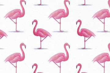 手绘粉色火烈鸟无缝背景矢量素材