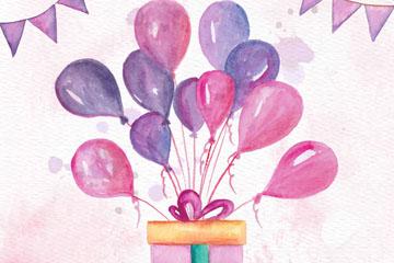水彩绘系满气球的生日礼盒矢量素