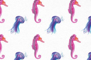 彩绘海马和水母无缝背景矢量图