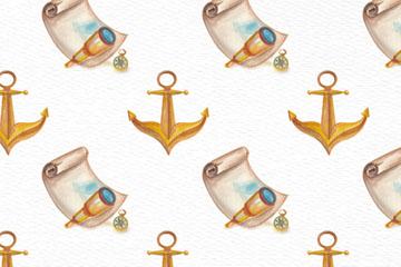 彩绘藏宝图和船锚无缝背景矢量图