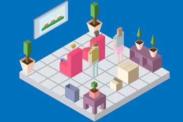 创意立体客厅中的人物矢量素材