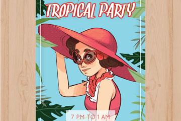 彩绘女子沙滩派对宣传单矢量素材