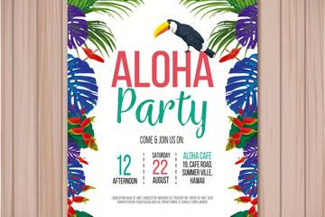 创意花鸟夏威夷派对传单矢量素材