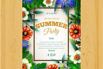 彩色热带花卉夏季派对传单矢量素材