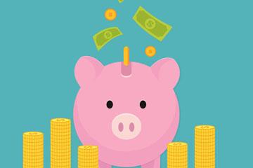 粉色猪存钱罐和金币堆矢量素材