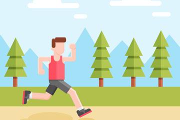 创意跑步健身的无表情男子矢量素
