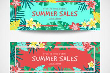 2款扁平化热带花卉夏季促销banner矢量图