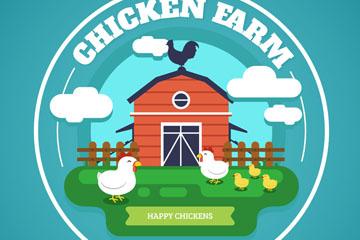 精美养鸡场标签设计矢量素材