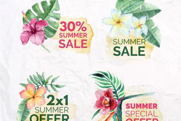 4款水彩绘热带花卉夏季促销标签矢量图