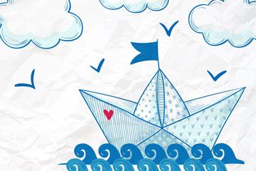 蓝色手绘海上的纸船矢量素材