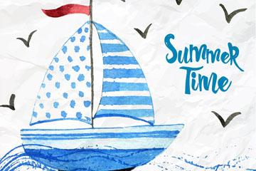 手绘蓝色航海的帆船矢量素材