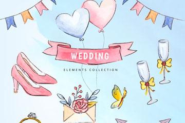 10款彩绘婚礼元素设计矢量素材