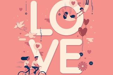 创意情侣装饰爱的艺术字矢量素材